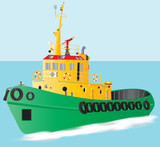 A detailed illustration of a Green and Yellow Harbour Tugboat