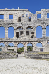 Ruins of Roman amphitheatre (Pula Arena) in Pula Croatia, Europe