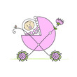 Newborn in baby's buggy for your design
