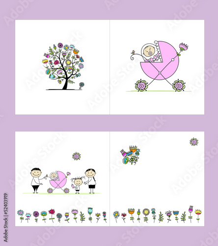 Newborn postcard, cover and inside page. Design for your print