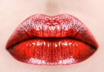 Red glossy lips