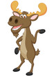 Moose cartoon waving