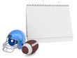 Desktop calendar, a football helmet and ball
