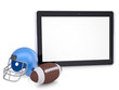 Tablet PC, football helmet and ball