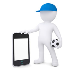 3d white man with soccer ball holding smartphone