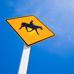 Horse rider warning road sign