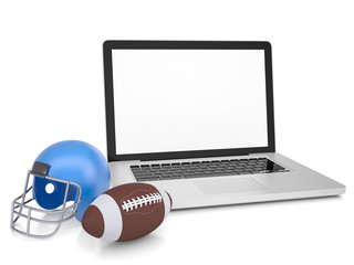 Laptop, football helmet and ball
