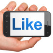 Social network concept: Like on smartphone