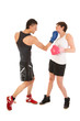 Boxing man and woman