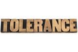 tolerance word in wood type poster