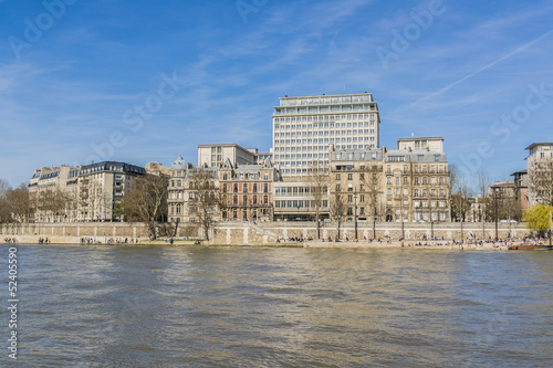 View of embankment of river Seine. Paris, France, Europe