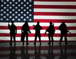 canvas print picture - American special forces Silhouette