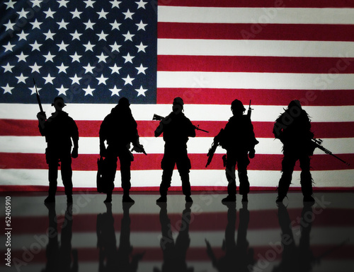 canvas print picture American special forces Silhouette