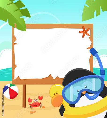 Penguin With Snorkel Message