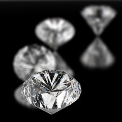 diamonds 3d on black surface