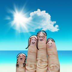 Finger family travels at the beach and singing a song