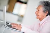 Elder woman using a computer