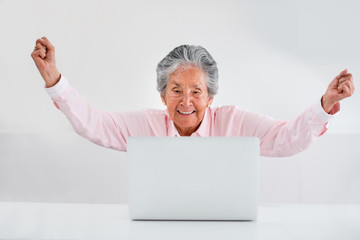 Elder woman online success