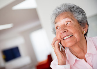 Elder woman on the phone