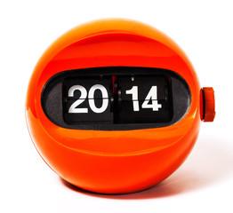 Creativity concept of calendar 2014 from vintage clock