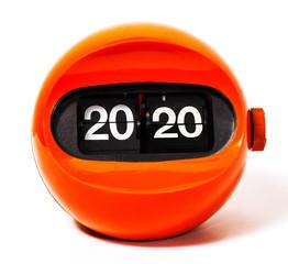 Creativity concept of calendar 2020 from vintage clock