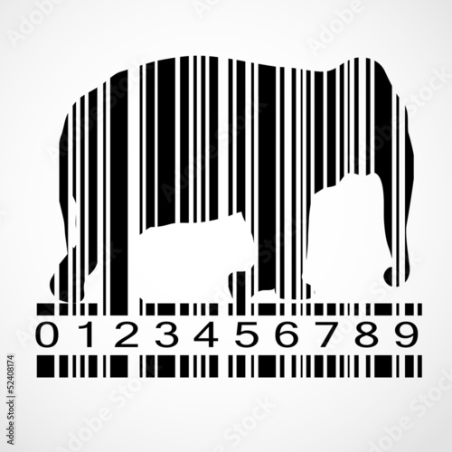 Barcode elephant image vector illustration