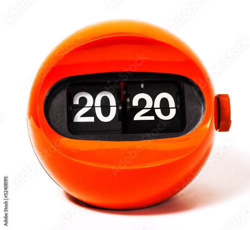Creativity concept of calendar 2020 from vintage clock