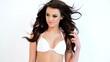 Hot Brunette Woman in White Bikini Bra Posing on White
