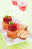Savoury muffins with bresaola and red pepper, selective focus