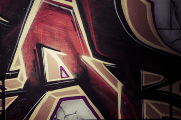 Red and golden words art, colorful graffiti, abstract grunge gra