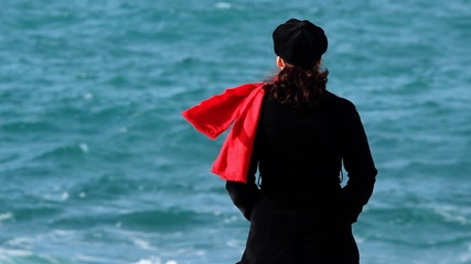 Red scarf and blue waves