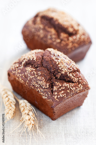 Homemade bread with rye bran, selective focus