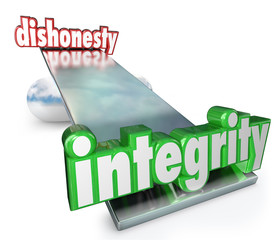 Integrity Vs Dishonesty Words Scale Balance Opposites
