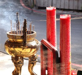 Large Incense Burner and Candles