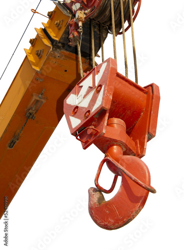 hook of telescopic crane on white