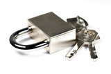 Metal suitcase padlock with keys on a ring isolated on white bac