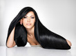 canvas print picture - Beautiful  woman with long straight hair