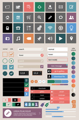 Set of web elements in modern flat design