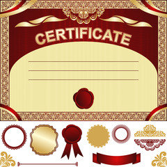 Certificate Template - gold and dark red design