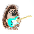 Cute hedgehog plays the blues