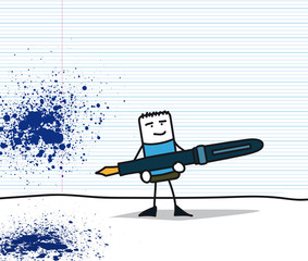 Personnage sur un cahier portant un stylo