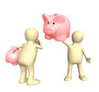 Two puppet with piggy bank