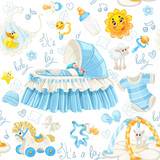 Seamless pattern of cribs, toys and stuff it's a boy
