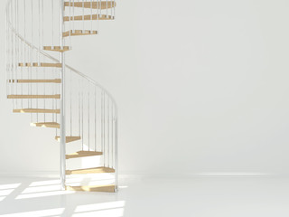 Empty white room with circular staircase.