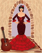 Spanish flamenco girl with guitar, vector illustration