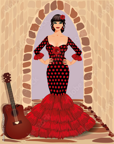 Spanish flamenco girl with guitar, vector illustration