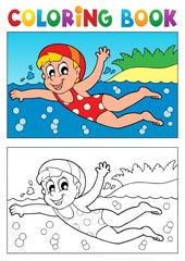 Coloring book swimming theme 2