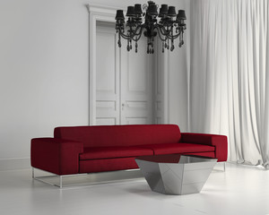 White contemporary classic living room, red sofa, wood floor