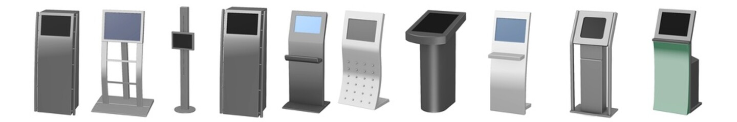 collection of 3d renders - terminals