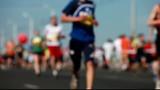 Unrecognizable marathon runners poster